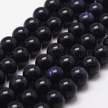 Synthetic Blue Goldstone Beads Strands, Round, 8mm, Hole: 1mm; about 49pcs/strand, 15 inches(G-G735-36-8mm)