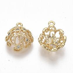breloques en laiton, avec de la zircone cubique clair, pour la moitié de perles percées, sans nickel, creux, réel 18 k plaqué or, 12.5x10x4.5 mm, trou: 0.9 mm; broches: 1 mm(KK-S355-029-NF)