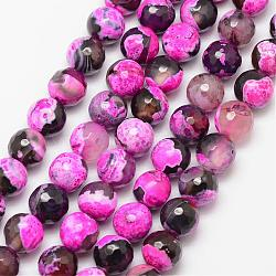 Natural Fire Agate Bead Strands, Round, Grade A, Faceted, Dyed & Heated, DeepPink, 10mm, Hole: 1mm; about 37pcs/strand, 15inches