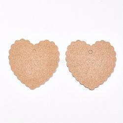 Affichage de bijoux étiquettes de prix de papier kraft, cœur, Sandybrown, 57x55x0.3 mm; 50 pcs / sac(X-CDIS-WH0005-05B)