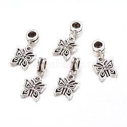 Perles européennes de pendentif en alliage , papillon, argent antique, 27mm, Trou: 5mm(X-PALLOY-JF00001-07)
