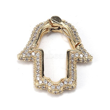 Brass Micro Pave Clear Cubic Zirconia Spring Gate Rings, Long-Lasting Plated, Hamsa Hand/Hand of Fatima/Hand of Miriam, Real 18K Gold Plated, 24.5x20x4mm(ZIRC-F120-008G)