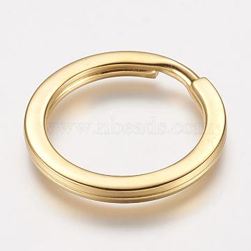 304 Stainless Steel Split Key Rings, Keychain Clasp Findings, Golden, 32x3mm, 25mm inner diameter(X-STAS-P148-01G)