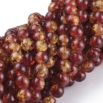 1Strand Two Tone Transparent Crackle Glass Round Beads Strands, Tomato, 8mm, Hole: 1.3~1.6mm, 31.4 inches(X-CCG-Q002-8mm-10)