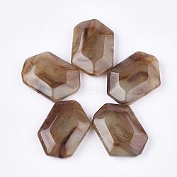 perles acryliques, style de pierres précieuses imitation, facettes, polygone, chameau, 33x48x13 mm, trou: 2.5 mm(OACR-T011-165B)