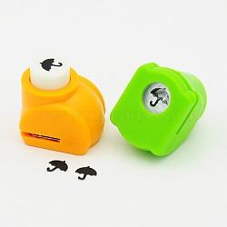 Kits de punchv de Mini embarcation en plastique pour scrapbooking et artisanat en papier, parapluie, couleur aléatoire, 33x26x31mm(AJEW-F003-04)