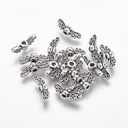 perles d'aile en alliage de fées de style tibétain, sans plomb, argent antique, 4.5x14x3.5 mm, trou: 1.5 mm