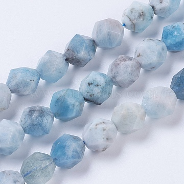 Natural Aquamarine Beads Strands, Star Cut Round Beads, Faceted, 10mm, Hole: 0.8~1mm, about 40pcs/strand, 15.5 inches(39.5cm)(G-F568-043-10mm)