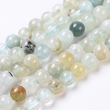 Natural Aquamarine Beads Strands, Round, 4mm, Hole: 0.6mm; about 91pcs/Strand, 15.2inches(38.6cm)(G-G802-02A)