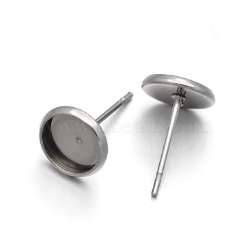 Flat Round 304 Stainless Steel Stud Earring Settings, Stainless Steel Color, Tray: 6mm; 12x8mm, Pin: 0.6mm(X-STAS-N075-01C)