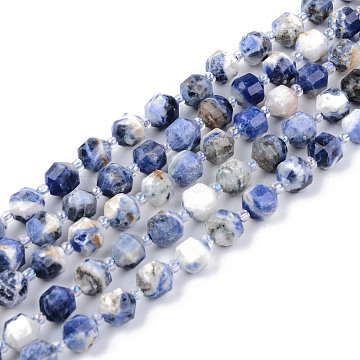 Natural Sodalite Beads Strands, Round, Faceted, 7~8x8mm, Hole: 1.2mm; about 38~40pcs/strand, 15.16inches(38.5cm)(G-R482-21A-8MM)