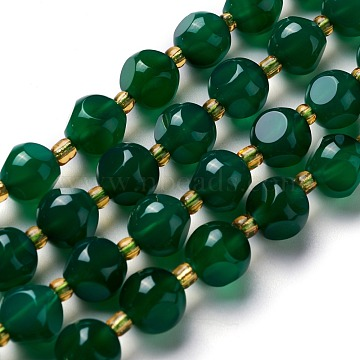 Natural Chrysoprase Beads Strands, with Seed Beads, Six Sided Celestial Dice, 7.5~8x7.5~8x7.5~8mm, Hole: 0.5mm, about 19pcs/Strands, 7.97''(20.25cm)(G-M367-21A)