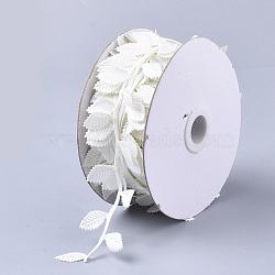 cordons de tissu, Accessoires d'ornement, feuille, blanc crème, 42 mm; sur 20 m / rouleau(FIND-T057-10F)