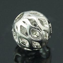 Brass Filigree Beads, Filigree Ball, Round, Platinum Color, 7x8mm, Hole: 3mm(X-KK-C2988-N)