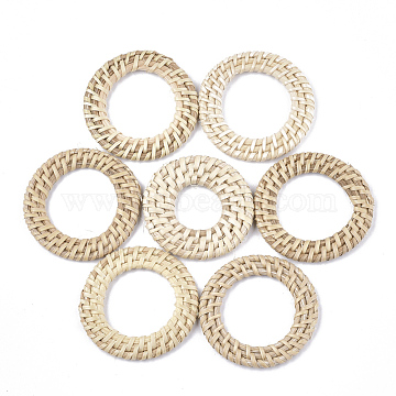 Handmade Reed Cane/Rattan Woven Linking Rings, For Making Straw Earrings and Necklaces, Ring, AntiqueWhite, 47~52x4~5mm, Inner Diameter: 20~33mm(X-WOVE-T006-033A)