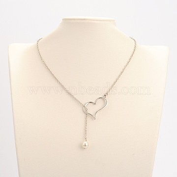 Alloy Silver Color Plated Heart Lariat Necklaces, with Glass Pearl Beads, Iron Cable Chains and Zinc Alloy Lobster Claw Clasps, Creamy White, 20.2 inches(NJEW-JN01010-01)