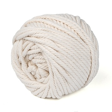 Cotton String Threads for Jewelry Making, Macrame Cord, WhiteSmoke, 6mm, about 54.68 yards(50m)/roll(OCOR-WH0018-B01-6mm)