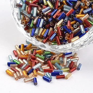 Tube Silver Lined Round Hole Glass Bugle Beads, Mixed Color, 4.6~5x1.8~2mm, Hole: 0.8mm, about 1200pcs/50g(X-SEED-I001-MS)