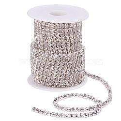 laiton strass chaînes de strass, avec bobine, strass chaînes de tasse, argent, cristal, 4 mm, environ 10 yard / roulette (CHC-T001-SS18-01S)
