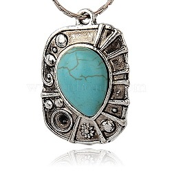 De style tibétain pendentifs en résine d'alliage, rectangle, argent antique, turquoise, 35x24x8mm, Trou: 2mm(PALLOY-J079-01AS)