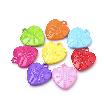 Mixed Color Heart Plastic Pendants