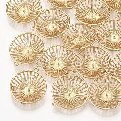 Pendentifs en laiton, avec zircons, pour la moitié de perles percées, plat rond, véritable 18k plaqué or, clair, 22.5x20x5mm, trou: 1.5 mm; broches: 1 mm(KK-T035-107)