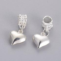 alliage européen balancent des perles, grandes perles de coeur de trou, plaqué argent, 25.5 mm, trou: 5 mm(MPDL-E045-09)