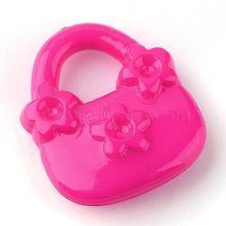 Supports de strass pendentif acrylique, sac à main, rose foncé, 20x17x5mm, trou: 7 mm; apte à 2 mm strass(X-SACR-Q143-C04)