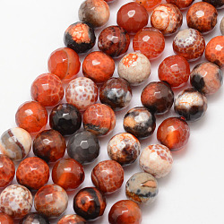 Natural Fire Agate Bead Strands, Round, Grade A, Faceted, Dyed & Heated, DarkOrange, 10mm, Hole: 1mm; about 37pcs/strand, 15inches