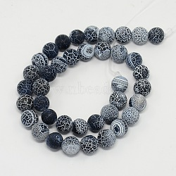 Gemstone Beads Strands, Natural Weathered Agate/Crackle Agate, Round, Grade A, Dyed, Black, 8mm; about 50pcs/strand, 16inches