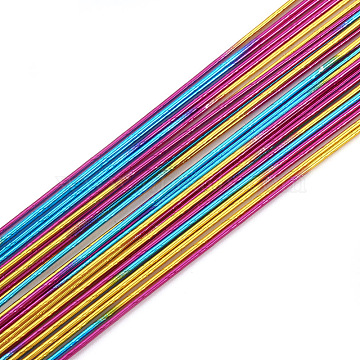 Iron Wire, Colorful, 24 Gauge, 0.5mm, about 2.62 Feet(80cm)/strand; 50strand/bag(MW-S002-01A-0.5mm)