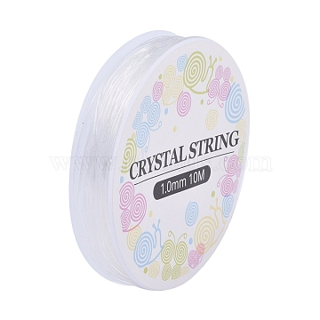 Elastic Crystal Thread, Jewelry Beading Cords, For Stretch Bracelet Making, White, 1.0mm, about 6.01 yards(5.5m)/roll(X-EW-S003-1mm-01)