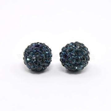 Perles de boule pavé disco , Perles de strass en argile polymère, Grade a, montana, 8mm, Trou: 1mm(X-RB-Q195-8mm-207)