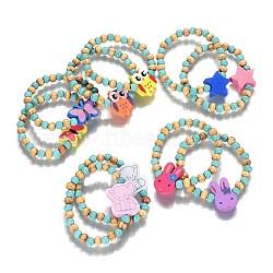 """Perles en bois enfants bracelets extensibles, avec turquoise synthétique, formes mixtes, couleur mixte, 1-5/8"""" (4.2 cm)(BJEW-JB04129)"""