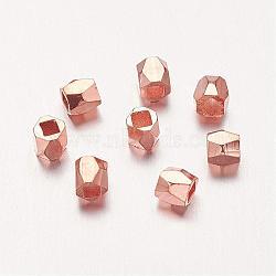 alliage de perles d'entretoise, facettes, colonne, or rose, 3x3 mm, trou: 1.5 mm