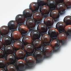 Natural Tiger Eye Beads Strands, Grade AB+, Round, CoconutBrown, 8mm, Hole: 2mm; about 48pcs/strand, 15.3inches