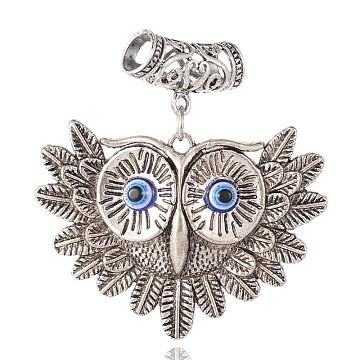 Antique Silver Owl Alloy Big Pendants