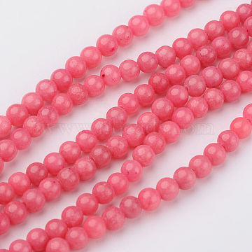 4mm PaleVioletRed Round Mashan Jade Beads