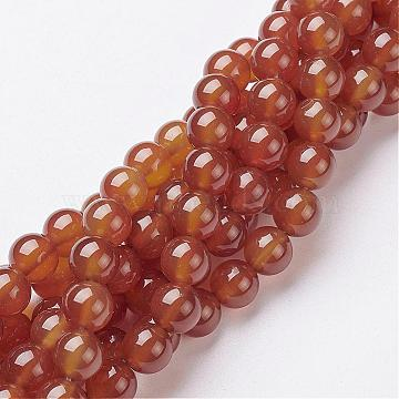 Gemstone Beads Strands, Carnelian, Dyed, Round, Dark Orange, about 8mm in diameter, hole: 1mm, about 50pcs/strand, 15~16 inches(X-GSR060)