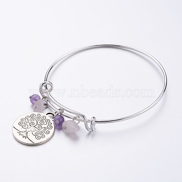 Brass Expandable Charm Bangles, Amethyst, with Tibetan Style Tree of Life Pendants, 69mm(2-3/4 inches)(X-BJEW-JB02468-05)