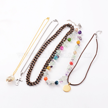 Mixed Necklaces, with Pendant Necklaces and Beaded Necklaces, Vary in Materials and Colors, Mixed Color, 15.74inches~38.97inches(NJEW-JN01482)