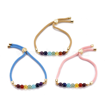 Chakra Jewelry, Adjustable Nylon Cord Slider Bracelets, Bolo Bracelets, with Natural & Synthetic Gemstone Beads and Brass Findings, Golden, Mixed Color, Inner Diameter: 2-5/8 inches(6.7cm), Slider Bead: 8x5.5mm(BJEW-JB05470)