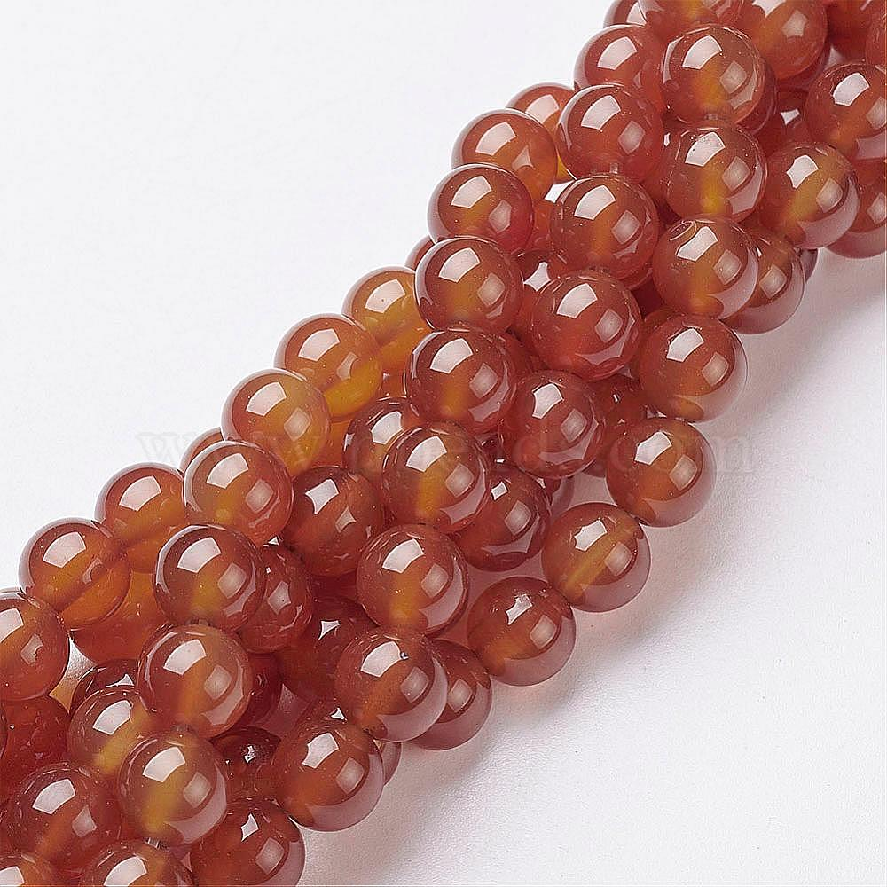 Carnelian Round Beads 8mm Orange//White 8 Pcs Gemstones Jewellery Making Crafts