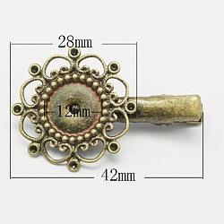 Accessoires pince à cheveux crocodile en laiton, bronze antique, 12mm(X-KK-H282-AB)