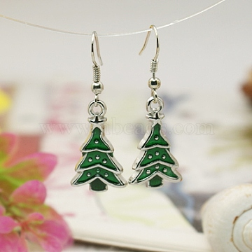 Fashion Earrings for Christmas, with Enameled Alloy Pendants and Brass Earring Hooks, Green, 39mm(X-EJEW-JE00393-01)