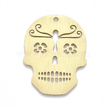 Aluminium Big Pendants, Laser Cut Big Pendants, Sugar Skull, For Mexico Holiday Day of the Dead, Golden, 50x39x1mm, Hole: 3mm(ALUM-T001-04G)