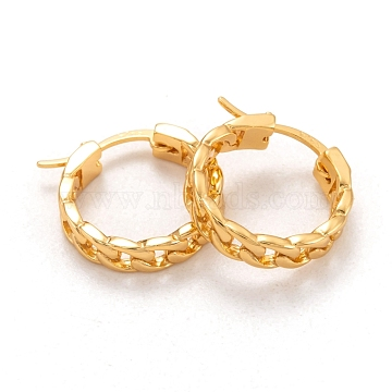 925 Sterling Silver Hoop Earrings, Carved 925, Curb Chain Shape, Real 18K Gold Plated, 15.5x3.5mm, Pin: 0.6x1mm(EJEW-H110-05G)