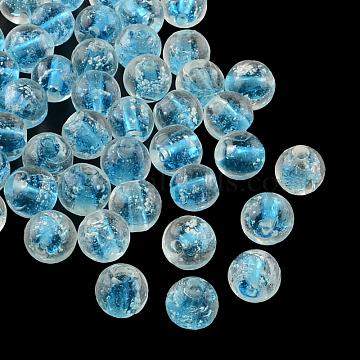 8mm DeepSkyBlue Round Lampwork Beads