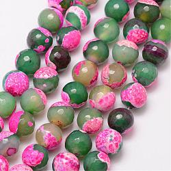 Natural Fire Agate Bead Strands, Round, Grade A, Faceted, Dyed & Heated, PearlPink, 12mm, Hole: 1mm; about 32pcs/strand, 15inches
