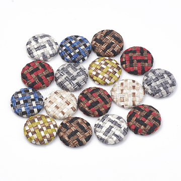Cloth Fabric Covered Cabochons, with Aluminum Bottom, Half Round/Dome, Platinum, Mixed Color, 25.5x5~6mm(X-WOVE-N006-03I)